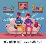 friends is gaming. nerd's room... | Shutterstock .eps vector #1277383477