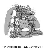 reading nook  cozy room with... | Shutterstock .eps vector #1277394934
