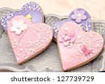 valentine cookies decorated... | Shutterstock . vector #127739729