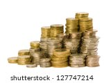 british coins arranged on a... | Shutterstock . vector #127747214