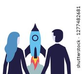 businessman and woman rocket... | Shutterstock .eps vector #1277482681