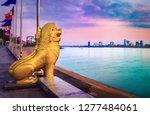 Phnom Penh riverside at sunrise. Cambodia
