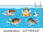 cheerful and active kids... | Shutterstock .eps vector #1277492437