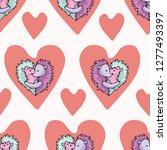vector cute hedgehog hug hearts.... | Shutterstock .eps vector #1277493397