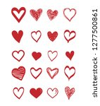 set of scribble red hearts....