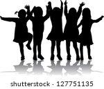 group of children's silhouettes   Shutterstock .eps vector #127751135
