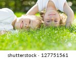 happy children playing on green ... | Shutterstock . vector #127751561