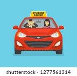 scared driving school... | Shutterstock .eps vector #1277561314