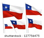 chile vector flags set. 5 wavy...
