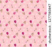 seamless pattern with a floral... | Shutterstock .eps vector #1277583847