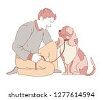 male spending time with dog... | Shutterstock .eps vector #1277614594
