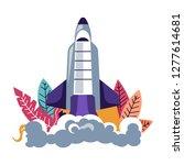 launching rocket spacecraft... | Shutterstock .eps vector #1277614681