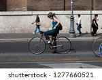 Rome Italy  Girl Cycling...
