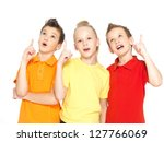 Portrait of the happy children point up with idea sign -  isolated on white - stock photo