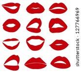 set of red lips   Shutterstock .eps vector #127766969