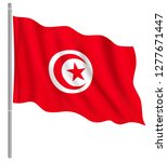 flag of tunisia with flag pole... | Shutterstock .eps vector #1277671447