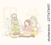 grandparents and kid eating jam ... | Shutterstock . vector #1277673457