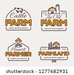 farm logos set for dairy... | Shutterstock .eps vector #1277682931