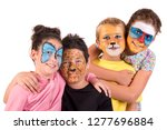 children with animal face paint ... | Shutterstock . vector #1277696884
