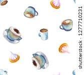 watercolor coffee macchiato cup ...   Shutterstock . vector #1277710231