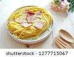 close up of spaghetti carbonara ... | Shutterstock . vector #1277715067