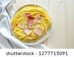 close up of spaghetti carbonara ... | Shutterstock . vector #1277715091