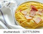 close up of spaghetti carbonara ... | Shutterstock . vector #1277715094
