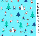 seamless pattern with winter... | Shutterstock .eps vector #1277725597