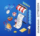 smartphone with receipt  money  ...   Shutterstock .eps vector #1277802094