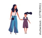 mother leading her daughter to... | Shutterstock .eps vector #1277819011