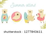 set of cute otters on holiday.... | Shutterstock .eps vector #1277843611