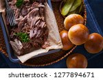 homemade pulled pork with... | Shutterstock . vector #1277894671