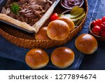 homemade pulled pork with... | Shutterstock . vector #1277894674