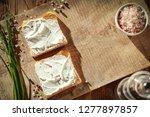 breakfast photo of cream cheese ... | Shutterstock . vector #1277897857