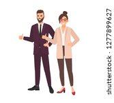 pair of office workers standing ...   Shutterstock .eps vector #1277899627