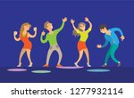 dancing women and men on blue... | Shutterstock .eps vector #1277932114