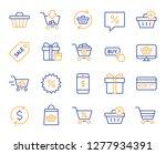 shopping line icons. gift box ... | Shutterstock .eps vector #1277934391