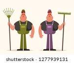 happy worker with rake. cartoon ... | Shutterstock .eps vector #1277939131