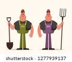 happy worker holding pitchfork... | Shutterstock .eps vector #1277939137