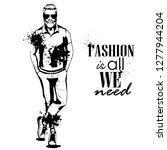 man model dressed in pants t... | Shutterstock . vector #1277944204