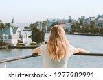 woman sightseeing helsinki city ... | Shutterstock . vector #1277982991