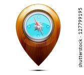Wooden Pointer With A Compass ...