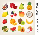 set of fruit icons. collection... | Shutterstock .eps vector #1278017344