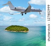 private jet over the tropical...   Shutterstock . vector #127802999