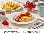 waffles and jam on breakfast... | Shutterstock . vector #1278048421