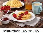 waffles and jam on breakfast... | Shutterstock . vector #1278048427