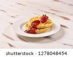waffles and jam on breakfast... | Shutterstock . vector #1278048454