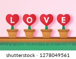 red heart in flower pot with...   Shutterstock .eps vector #1278049561