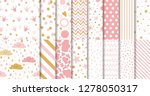 Stock vector set of cute sweet pink seamless patterns wallpaper for little baby girl pink dotted background 1278050317