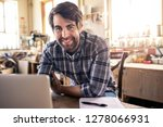 portrait of a woodworker... | Shutterstock . vector #1278066931